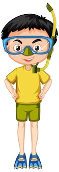 Ragazzo in camicia gialla con boccaglio e pinne