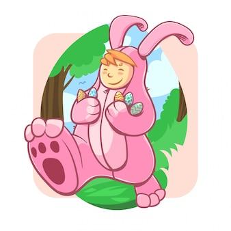 Ragazzo in costume da coniglio