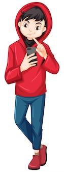 Ragazzo in felpa con cappuccio rossa che tiene personaggio dei cartoni animati di smart phone isolato su sfondo bianco