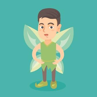 Ragazzo leggiadramente caucasico con le ali di farfalla verdi.