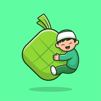 Ragazzo musulmano sveglio che abbraccia l'illustrazione dell'icona del fumetto dell'alimento di ketupat. persone religione icona concetto isolato. stile cartone animato piatto.