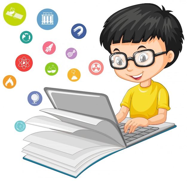 Ragazzo nerd che cerca sul computer portatile con stile del fumetto dell'icona di istruzione isolato su fondo bianco