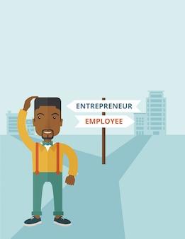 Ragazzo nero confuso con imprenditore o impiegato