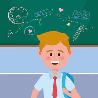 Ragazzo ragazzo di scuola