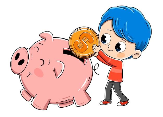 Ragazzo risparmiando soldi nel salvadanaio