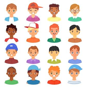 Ragazzo ritratto maschio bambini personaggio volto del ragazzo con acconciatura e cartone animato persona virile con varie tonalità della pelle illustrazione set di caratteristiche facciali uomo-bambino su sfondo bianco