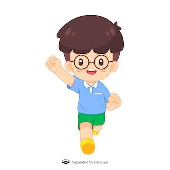 Ragazzo simpatico cartone animato con gli occhiali in esecuzione