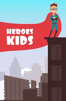 Ragazzo supereroe con mantello rosso sopra il poster di bambini super edifici di città