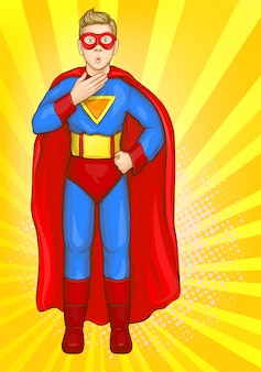 Ragazzo superman in costume da super eroe, ragazzo potente