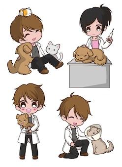 Ragazzo sveglio stabilito sul veterinario., concetto di lavoro.