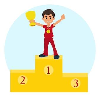 Ragazzo vincitore su un podio