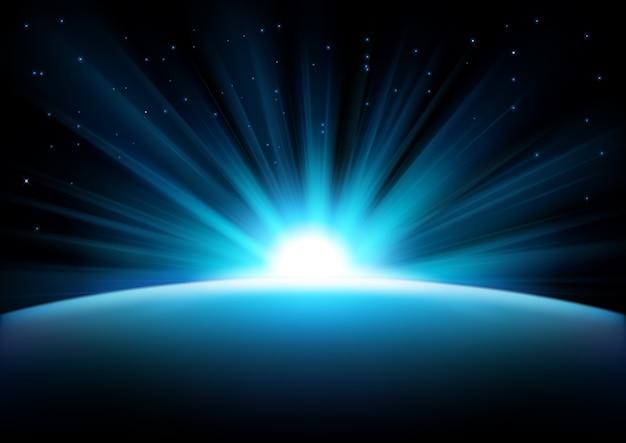 Raggi blu in aumento su sfondo scuro