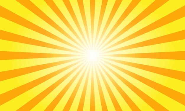 Raggi del sole con sunburst su sfondo arancione.