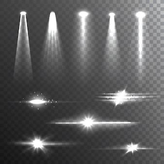 Raggi di luce bianco su nero composizione