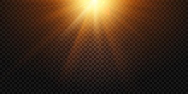 Raggi di luce caldi. il chiarore della lente delle luci magiche, il flash del sole e la lampada hanno isolato l'illustrazione