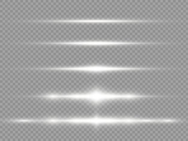 Raggi di luce orizzontali, bagliori di lenti orizzontali bianco flash, raggi laser, set di linee bianche brillanti