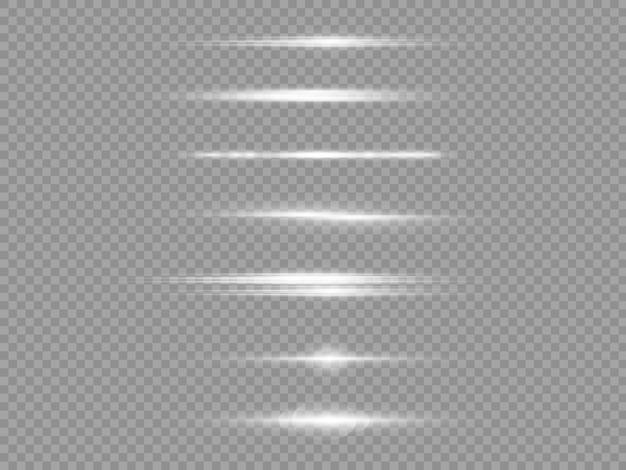 Raggi di luce orizzontali, confezione di bagliori di lenti orizzontali bianche flash, raggi laser, bagliore linea bianca, bagliore di luce bella, bagliore oro brillante, illustrazione vettoriale
