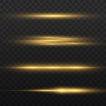 Raggi di luce orizzontali, confezione di razzi lenti orizzontali giallo flash, raggi laser, bagliore linea gialla, bagliore di luce bella, bagliore oro brillante, illustrazione vettoriale