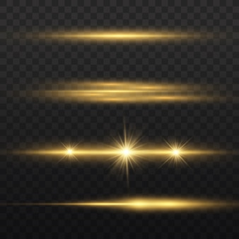 Raggi di luce orizzontali, pacchetto di razzi di lenti orizzontali giallo flash, raggi laser, linea gialla bagliore