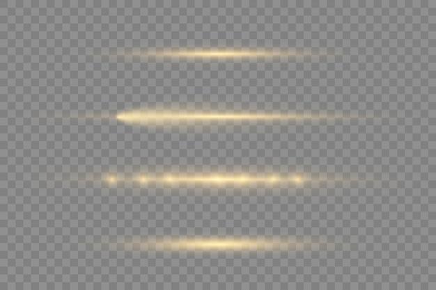 Raggi di luce orizzontali, raggi laser, bagliori di luce splendenti, bagliori di lenti orizzontali giallo flash impostati