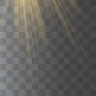 Raggi di luce solare, effetto speciale giallo con raggi di luce.