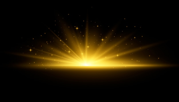 Raggi di sole luci incandescenti gialle. lampo di sole con raggi e riflettori. la stella è esplosa di splendore. effetto luci speciali su sfondo trasparente. illustrazione, .