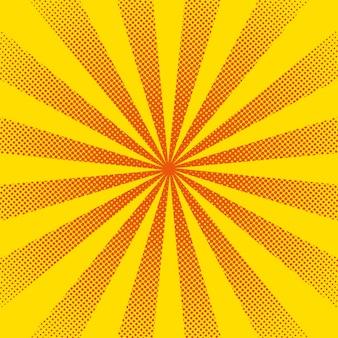 Raggi di sole luminoso con puntini gialli
