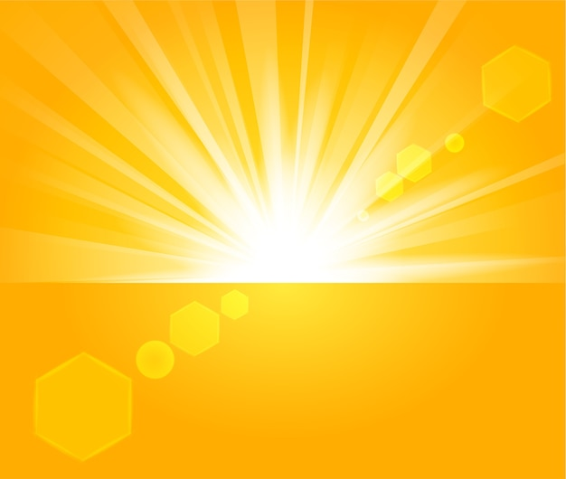 Raggi dorati che sorgono dall'orizzonte in sfondo chiaro