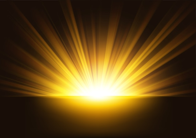 Raggi dorati in aumento su sfondo scuro