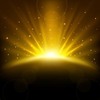 Raggi dorati in aumento sullo sfondo con scintillii