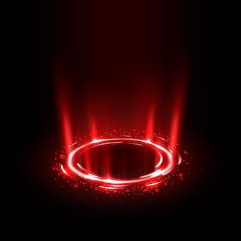 Raggi rossi rotanti con scintillii