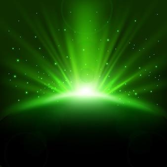 Raggi verdi in aumento sfondo con scintillii