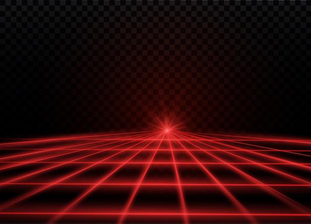 Raggio laser rosso astratto. trasparente su sfondo nero