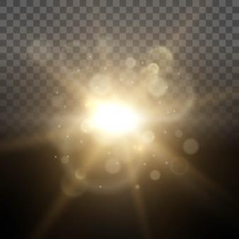 Raggio luminoso di luci di incandescenza di alba solare. effetto lente.