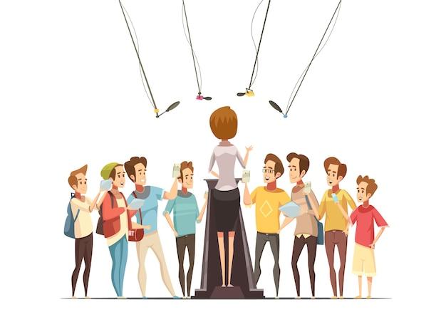 Raggruppi gli adolescenti con gli smartphone e le compresse che registrano la presentazione della spokeswoman nella retro illustrazione di vettore del fumetto del centro della gioventù