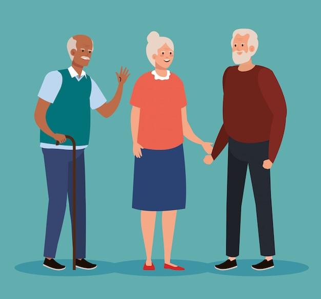 Raggruppi gli anziani svegli, progettazione sorridente dell'illustrazione di vettore dei nonni