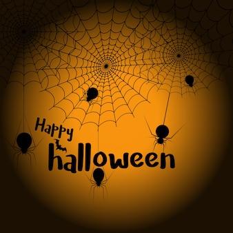 Ragnatela e ragni felici di halloween per la cartolina d'auguri