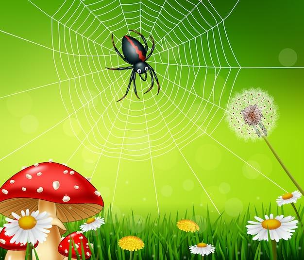 Ragno di cartone animato con sfondo di natura