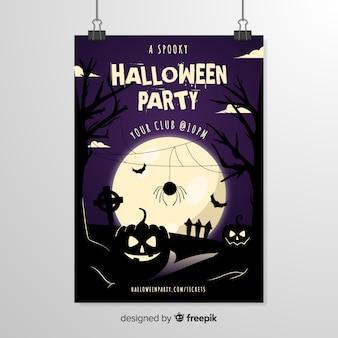 Ragno di fronte a un modello di poster di halloween luna piena