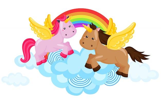 Rainbow horse and unicorn