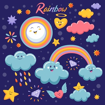 Rainbow in design piatto