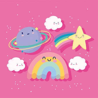 Rainbow shooting star pianeta nuvole sky magic cartoon decorazione illustrazione vettoriale
