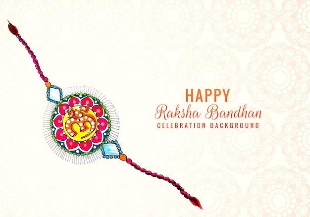 Rakhi decorato per il design delle carte del festival indiano raksha bandhan