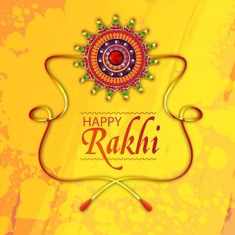 Raksha bandhan biglietto di auguri decorato con creative rakhi su sfondo giallo.