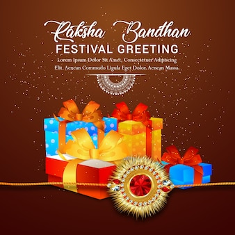 Raksha bandhan greeting card design per happy raksha bandhan
