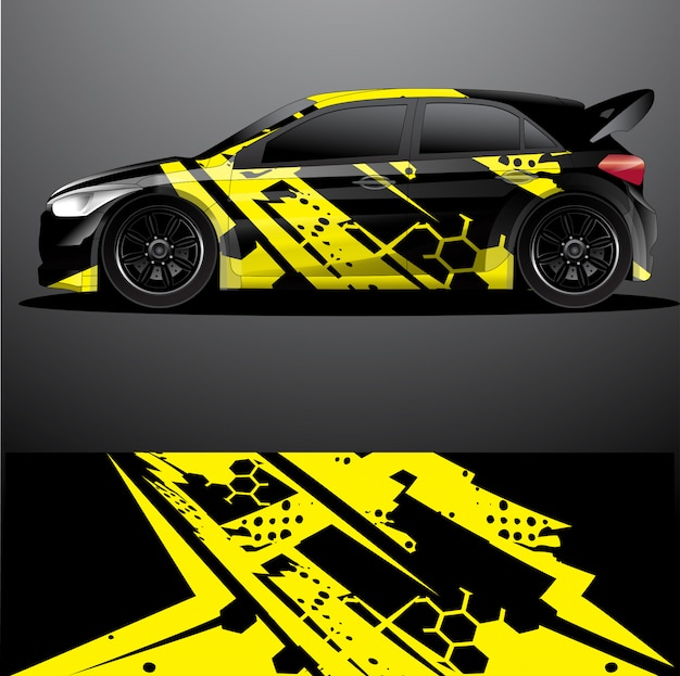 Rally car decal graphic wrap, disegno astratto
