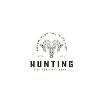 Ram da caccia, fauna selvatica animale logo capra