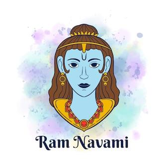 Ram navami con macchie di acquerello