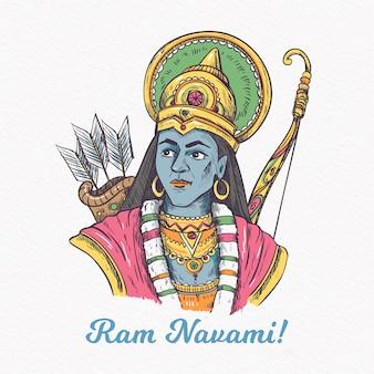 Ram navami festival uomo tradizionale con arco e frecce