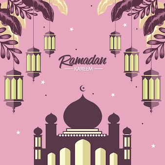 Ramadan card with lamp and mosque